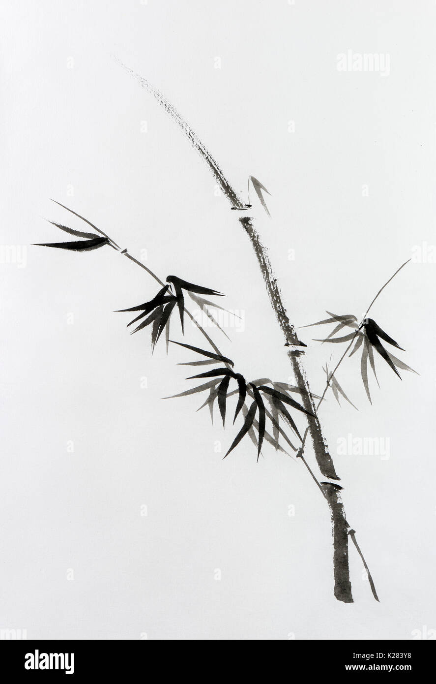 Minimalistic Japanese Sumi-e Zen black ink painting of bamboo stalk with young leaves on rice paper illustration Stock Photo