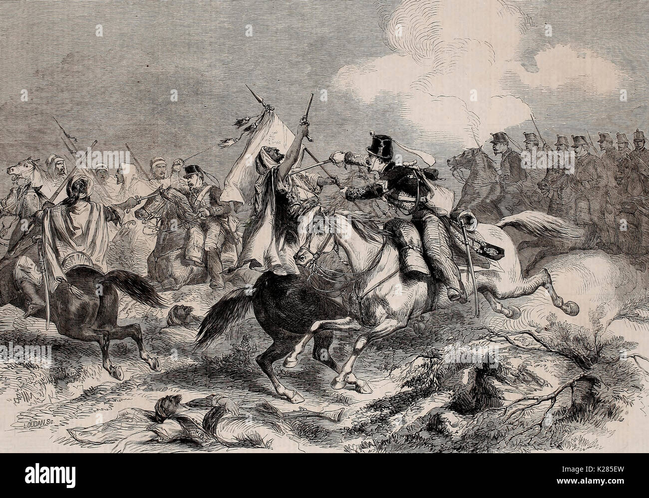 War in Morocco - Conflict between Moorish and Spanish Cavalry on the 1st of January, 1860 - Stock Image