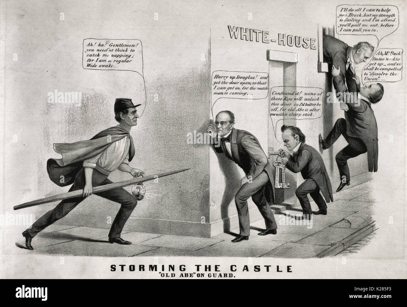 Storming the castle. 'Old Abe' on guard - Political Cartoon, 1860. During the 1860 election campaign the 'Wide Awakes,' a marching club composed of young Republican men, appeared in cities throughout the North.  They often wore uniforms consisting of visored caps and short capes, and carried lanterns. Here Republican presidential candidate Abraham Lincoln (left) is dressed as a 'Wide-Awake,' and carries a lantern and a spear-like wooden rail. He rounds the corner of the White House foiling the attempts of three other candidates to enter surreptitiously. At far right incumbent James Buchanan tr - Stock Image