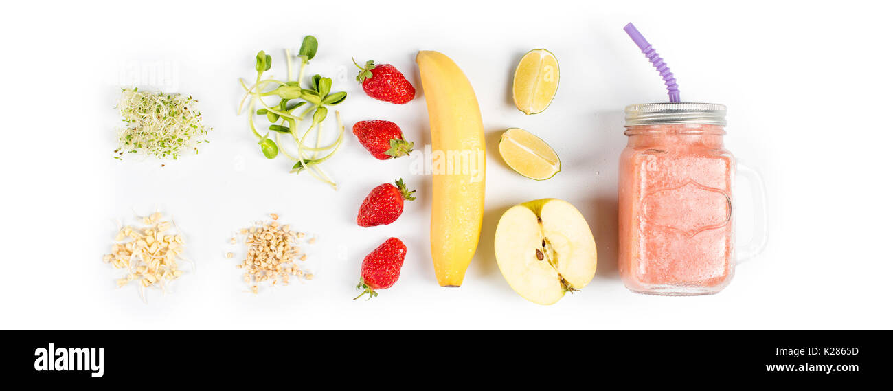 Detox Cleanse Drink Fruits And Berries Smoothie Ingredients Stock