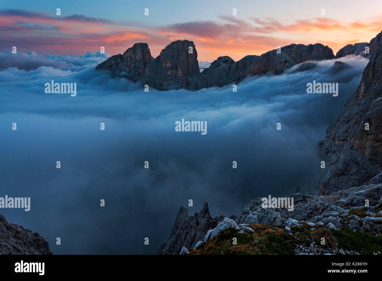 Laurin Pass, Catinaccio-Rosengarten, Dolomites, South Tyrol, Italy. - Stock Image