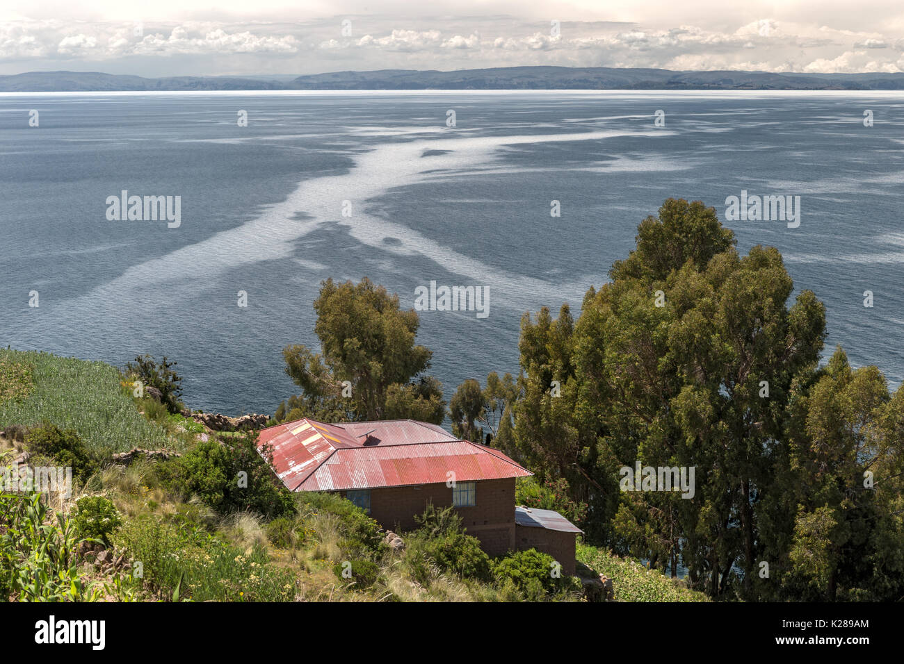 Taquile Island of the Quechua people Lake Titicaca Peru - Stock Image