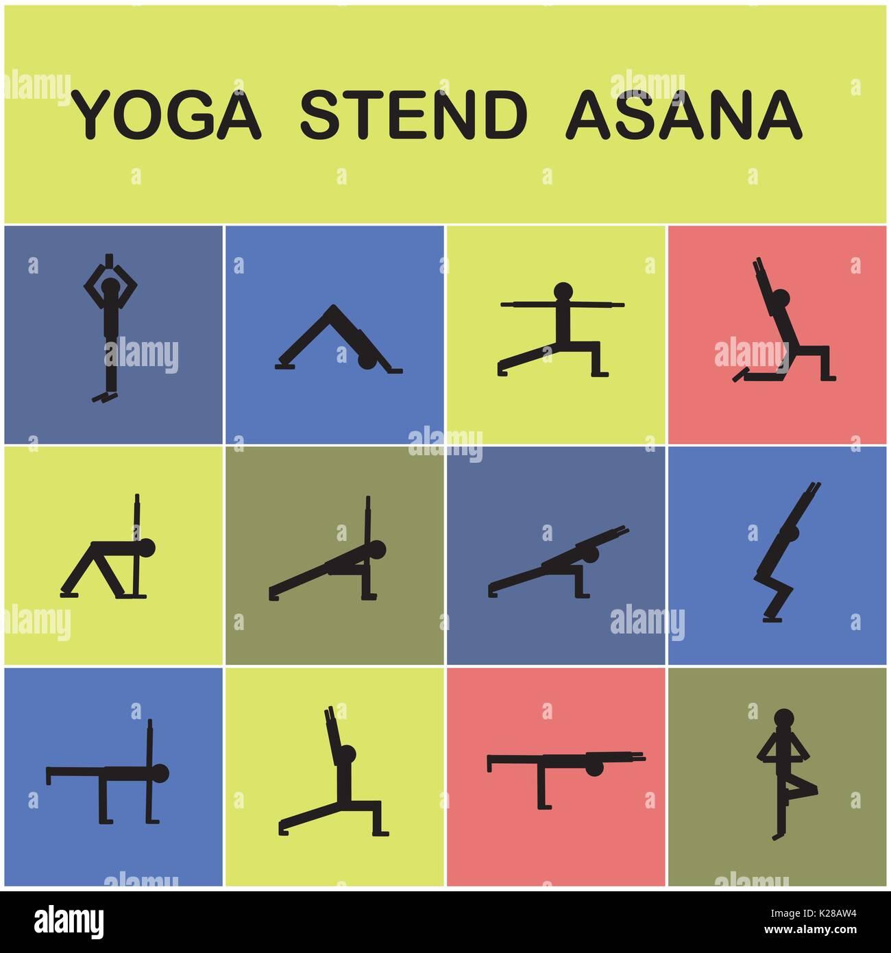 Set of icons. Poses yoga asanas.Yoga elements. Vector illustration - Stock Vector