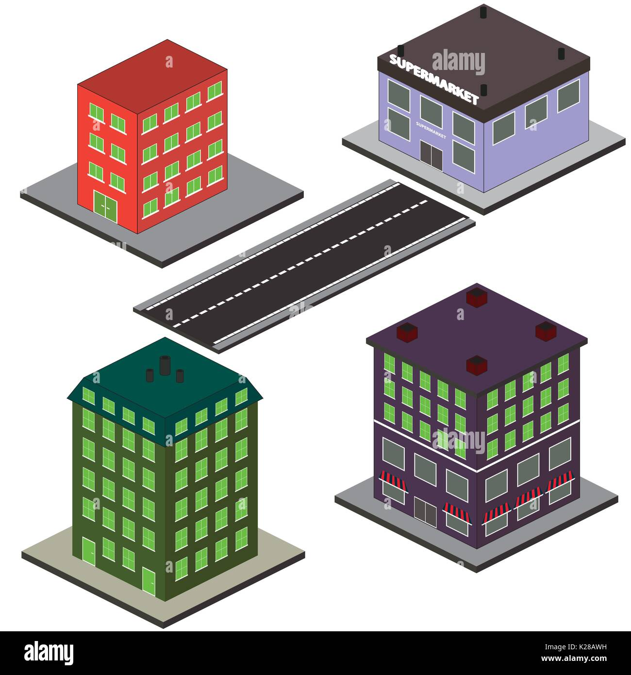 Isometric Buildings and Road, vector illustration Stock Vector