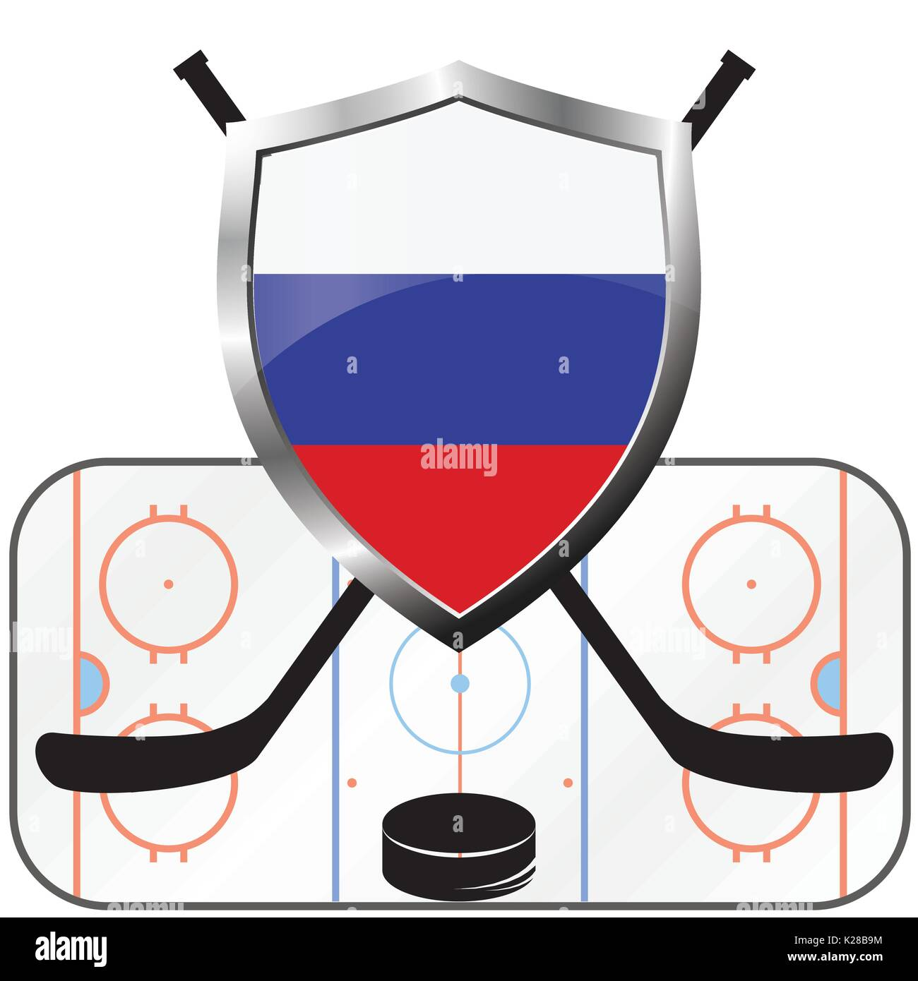 hockey logo- canada vs russia, vector - Stock Vector