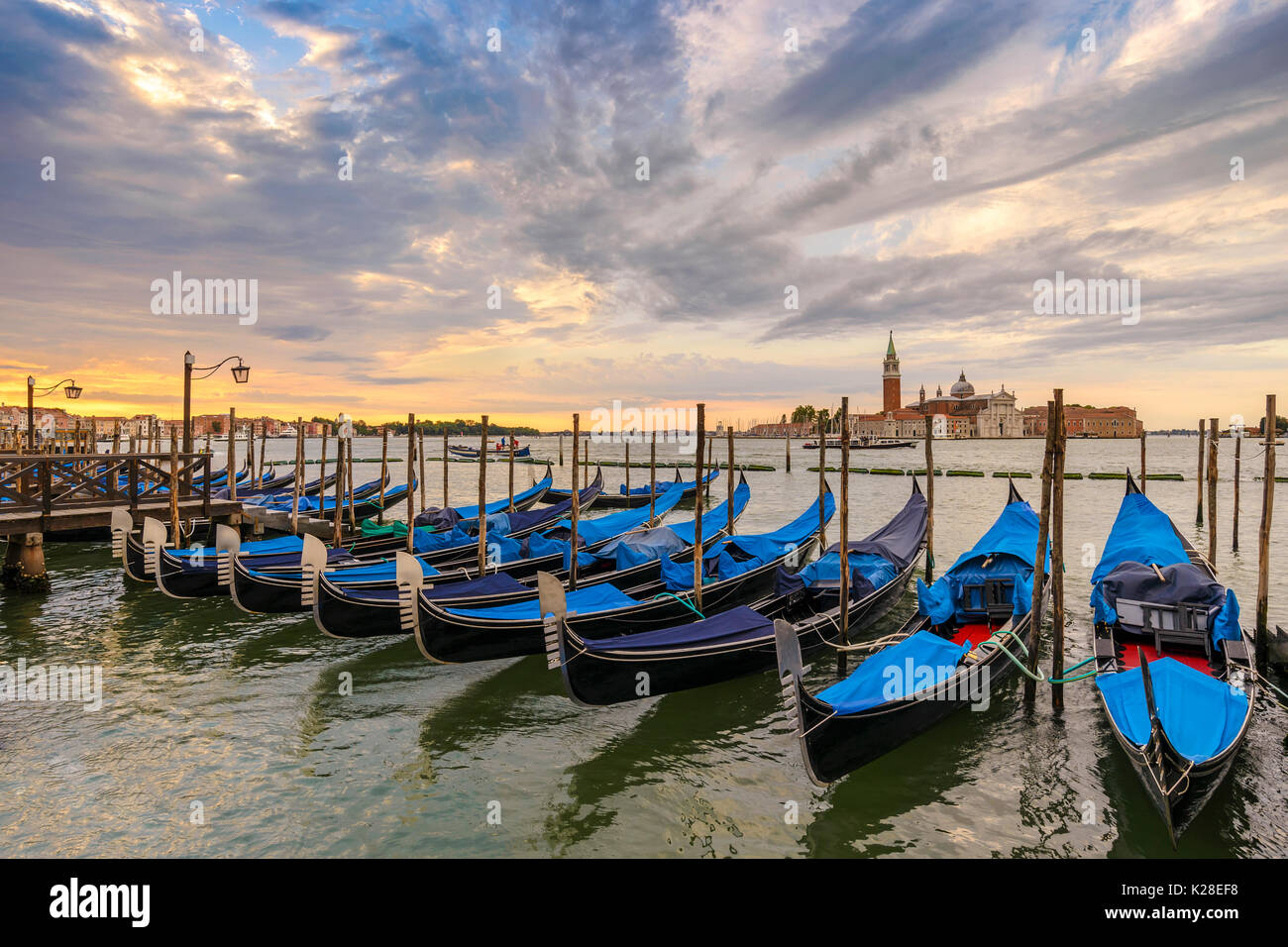 Venice Grand Canal and Gondola boat when sunrise, Venice (Venezia), Italy - Stock Image