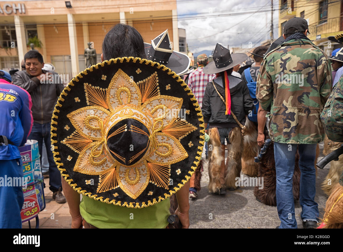 June 25, 2017 Cotacachi, Ecuador: sombreros worn during Inti Raymi as a sign of protest against the colonization - Stock Image