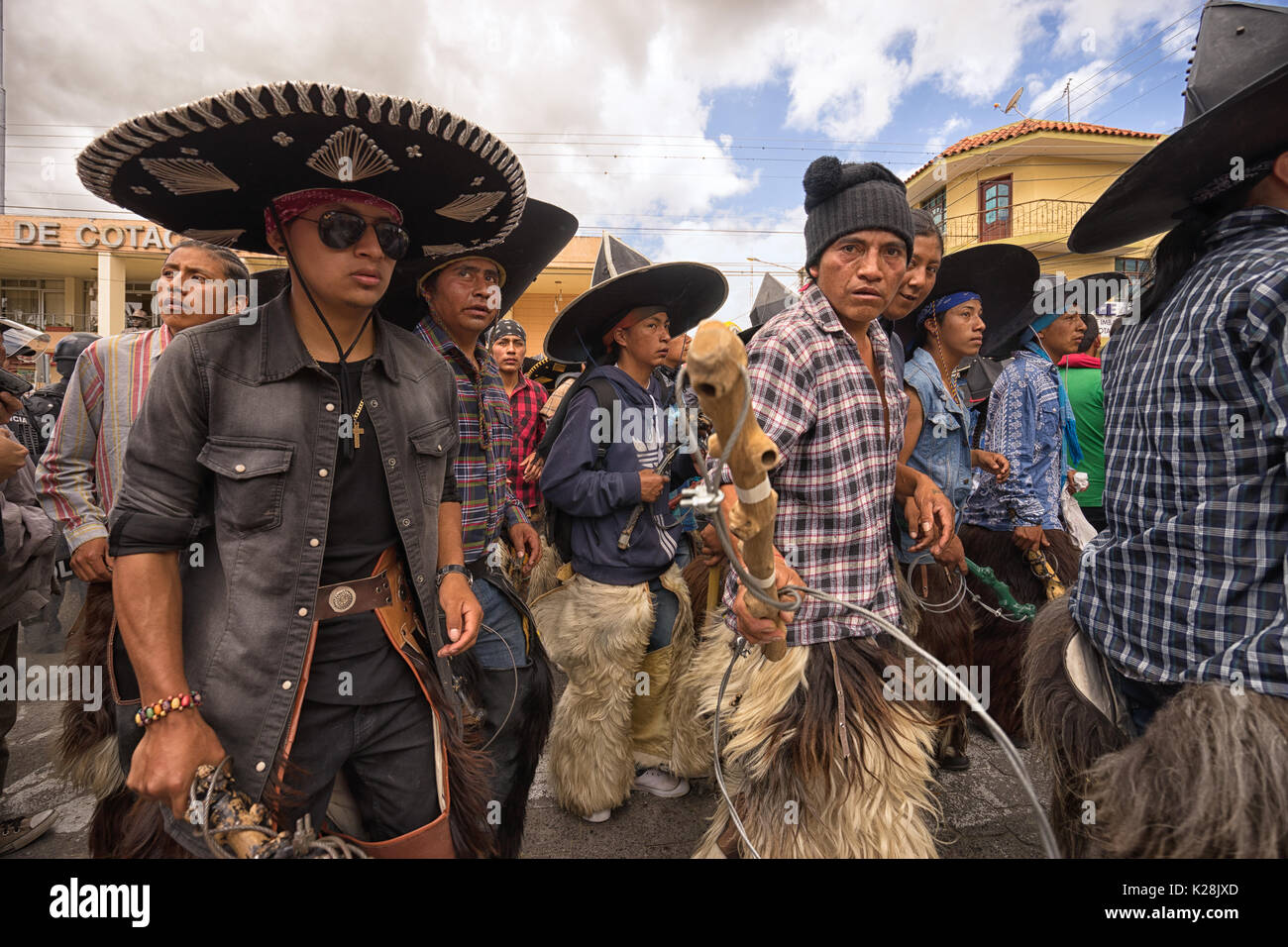 June 25, 2017 Cotacachi, Ecuador: the Inti Raymi parade occassionally turns violent between the participating indigenous groups - Stock Image