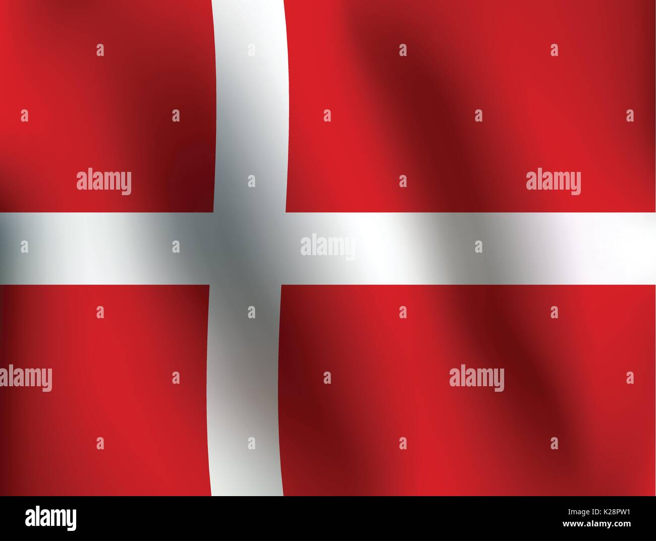 Flag of Denmark with a little Waving, Shading & Flag Colors separated layers - Vector Illustration - Stock Image