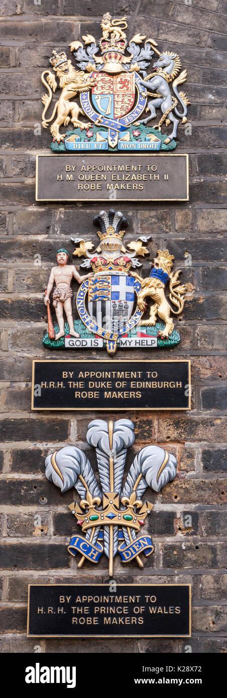 London, England, UK - 4 June 2009: Royal warrants outside a Ede & Ravenscroft, Saville Row - Stock Image