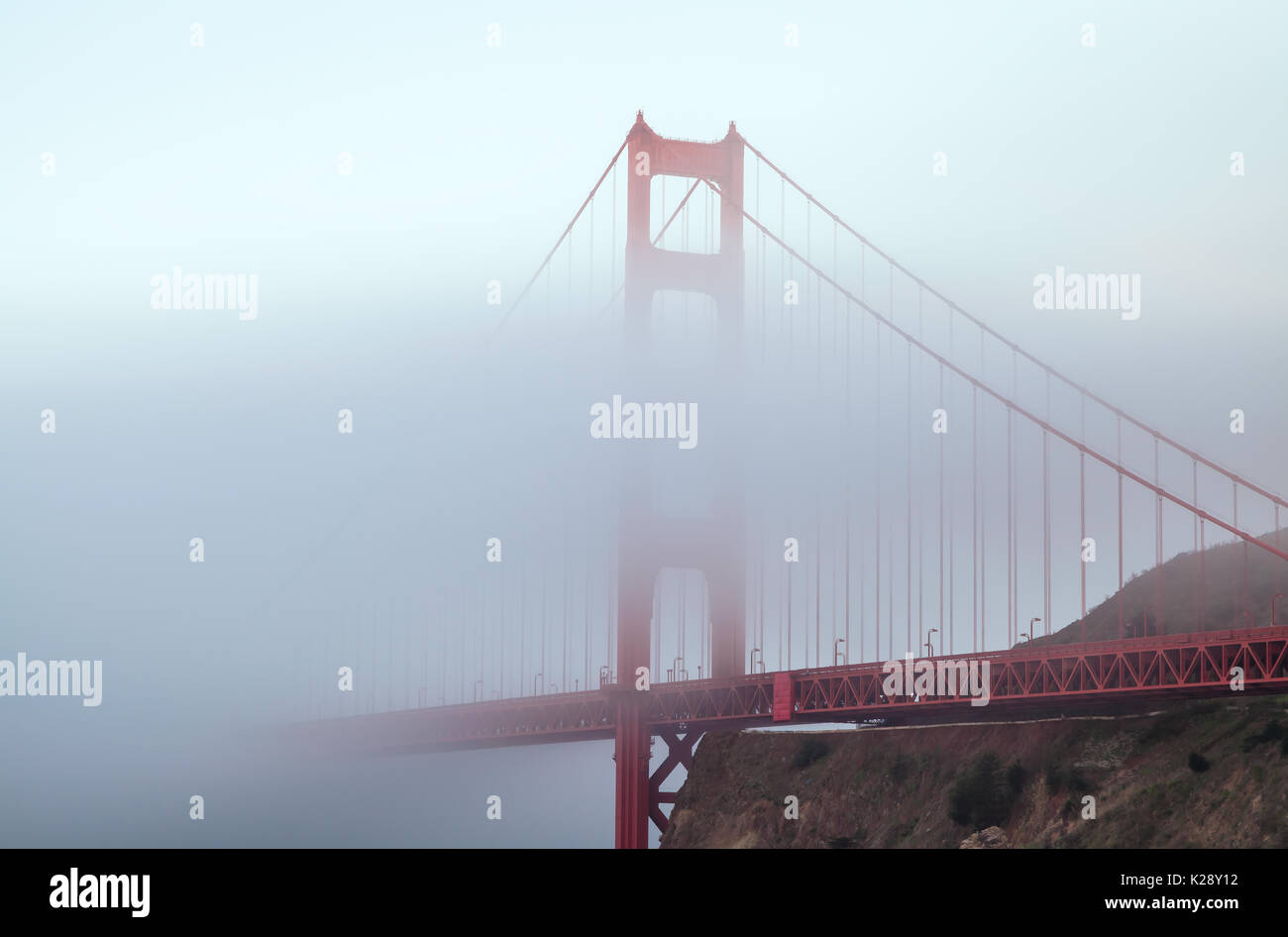 Lower fog covered part of the Golden Gate Bridge, San Francisco, California, USA - Stock Image