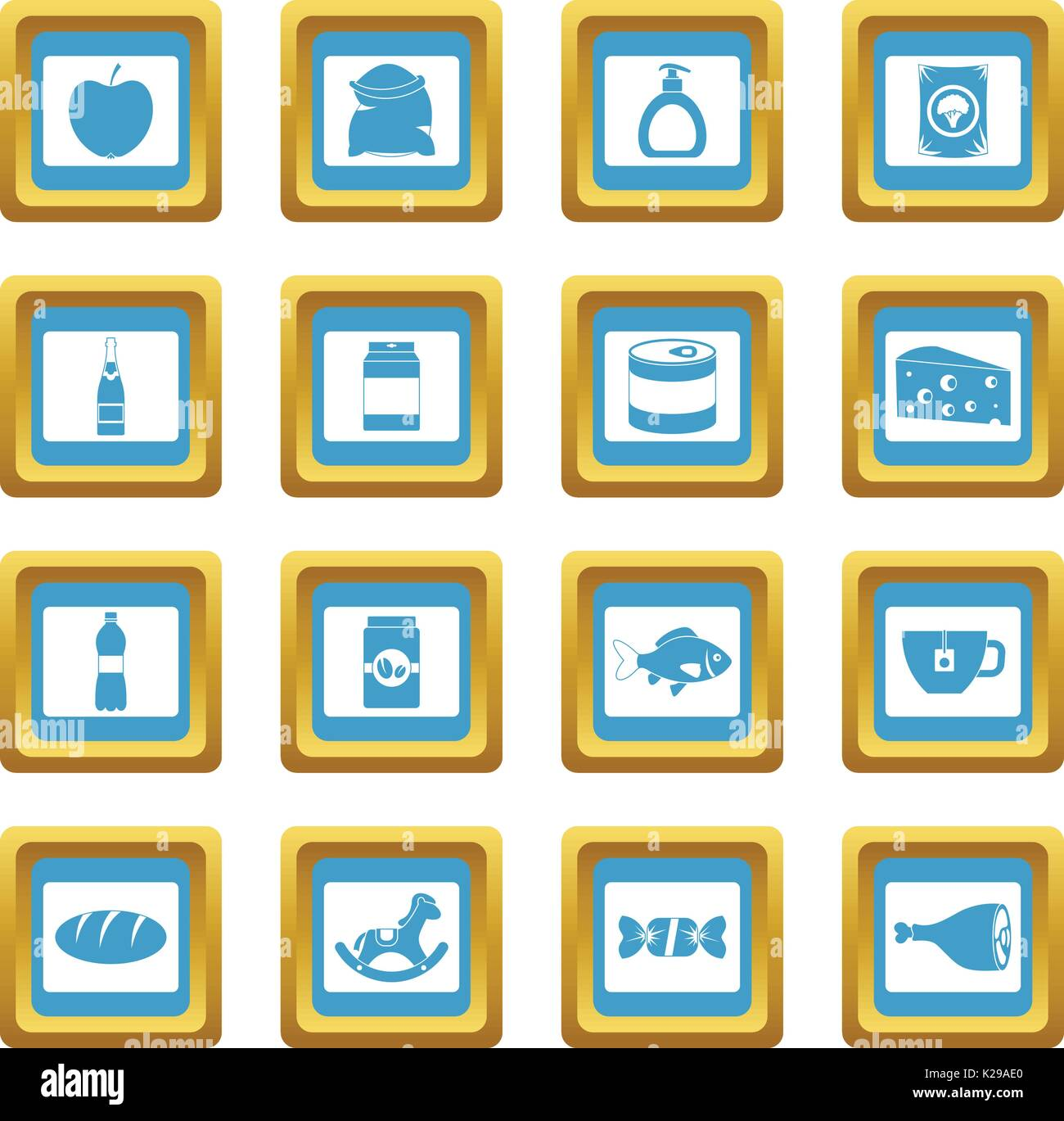 Shop navigation foods icons azure Stock Vector