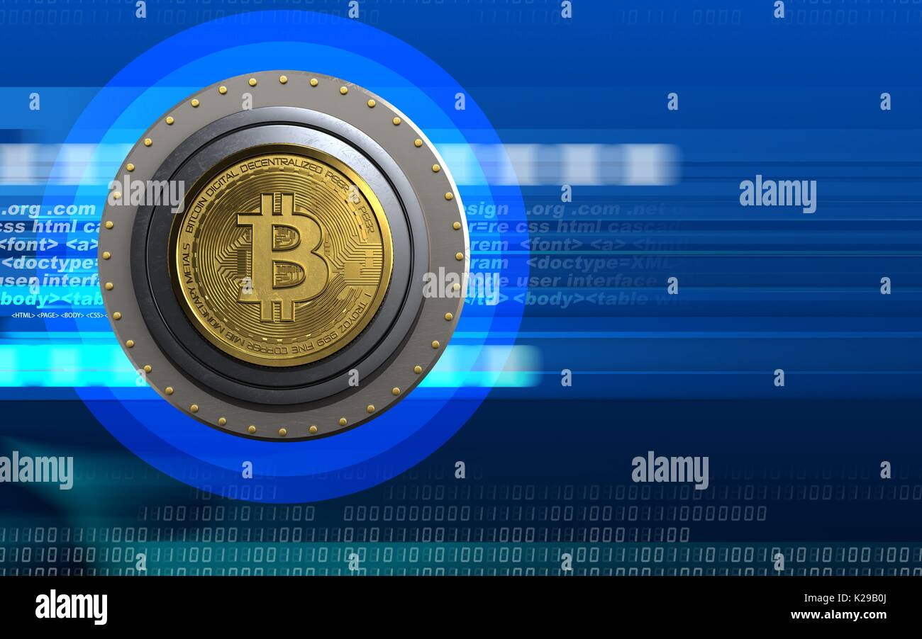 3d illustration of bitcoin safe over cyber background Stock