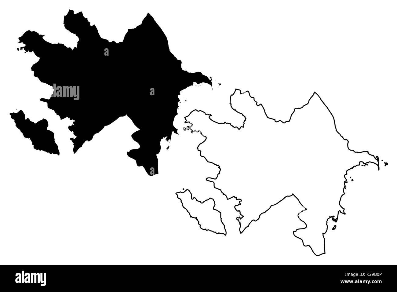 Azerbaijan map vector illustration, scribble sketch Azerbaijan - Stock Image