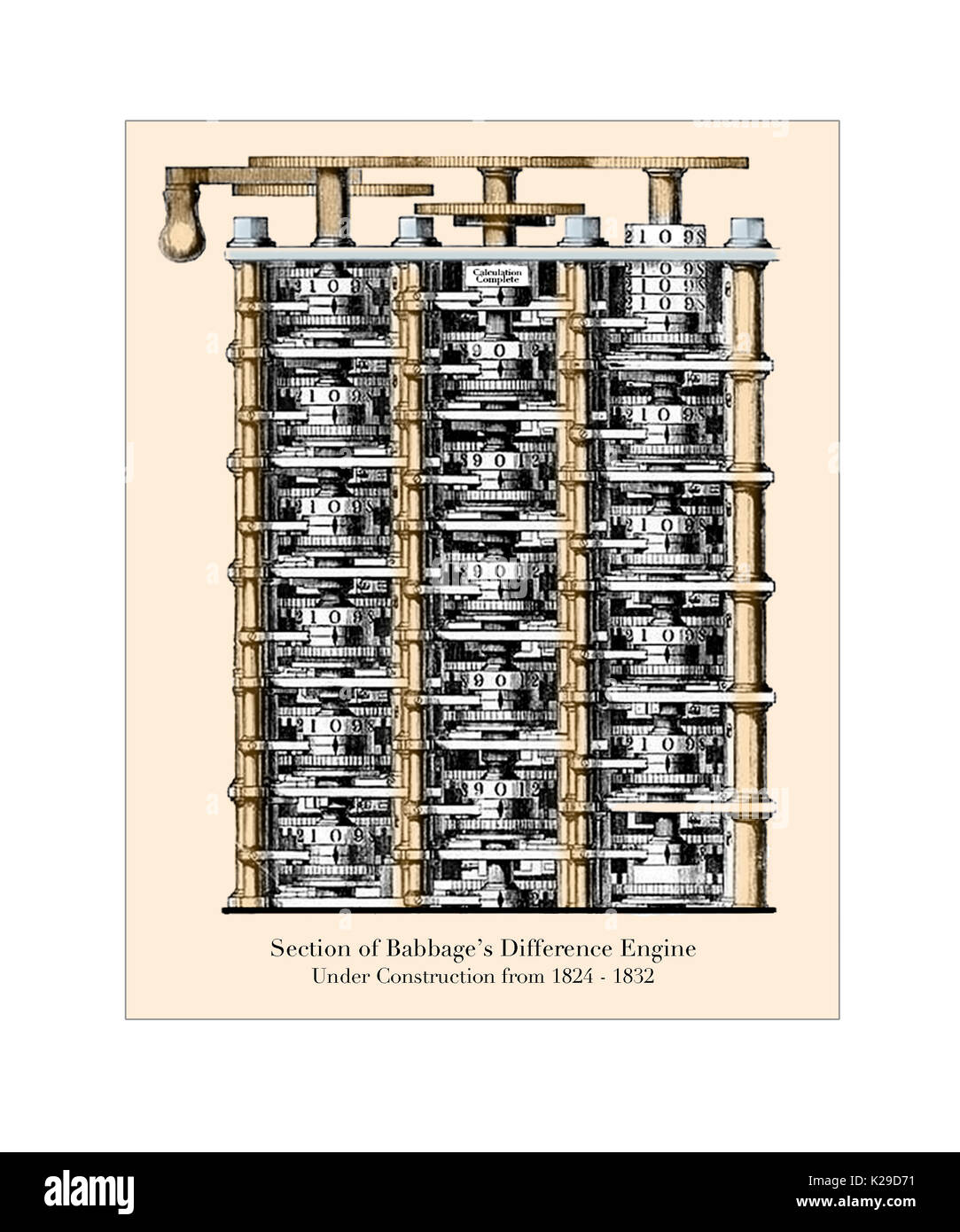 Section of Babbage's Difference Engine - Stock Image