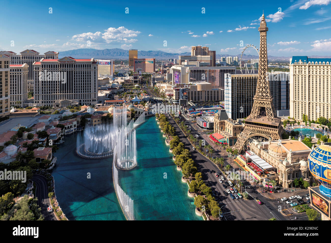 Las Vegas Strip at sunny day - Stock Image