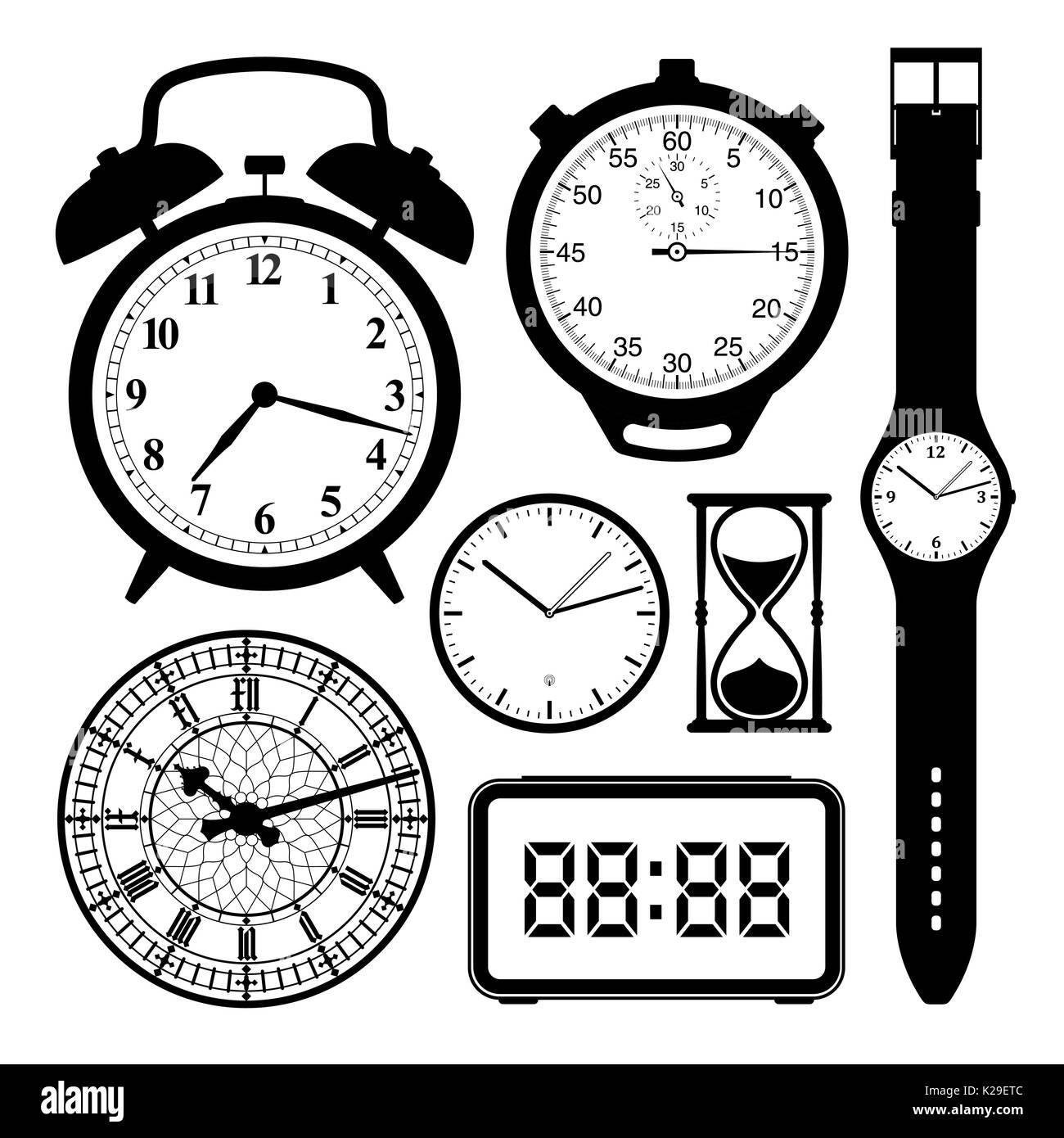 Clock and watch collection black and white - illustration - Stock Image