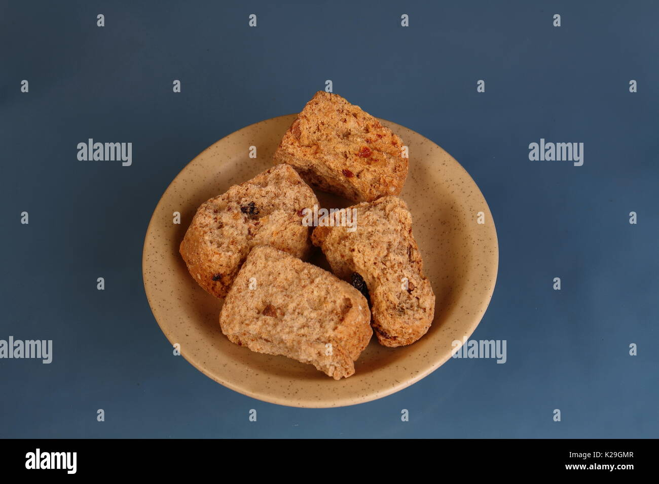 Rusks - a traditional Afrikaner and South African breakfast meal or snack in landscape format on a clear background with copy space - Stock Image