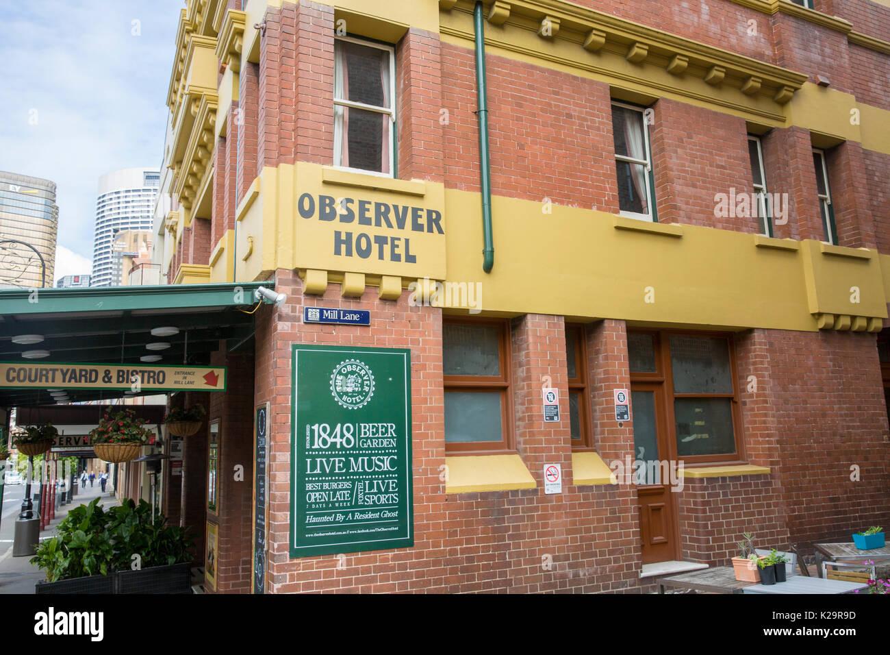 The Observer Hotel bar  historical Rocks area of Sydney in the city centre where white settlement began,Sydney,Australia - Stock Image