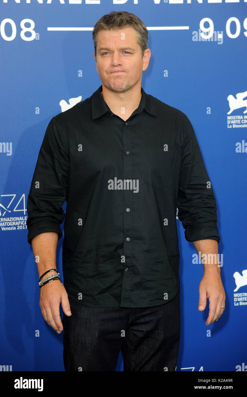 Venice, Italy. 30th Aug, 2017. 74th Venice Film Festival, Photocall film 'Downsizing' Pictured: Matt Damon Credit: Independent Photo Agency Srl/Alamy Live News - Stock Image