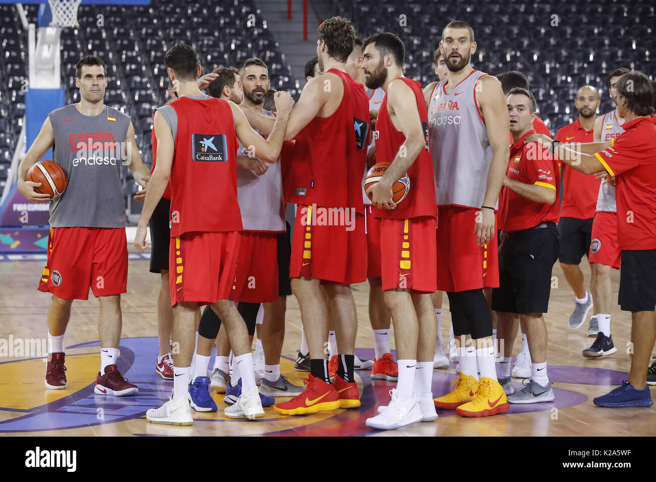 87b39c973c6 Spain's national basketball team players participate in a training session  at the Cluj Napoca pavillion in Cluj, Romania, 30 August 2017.