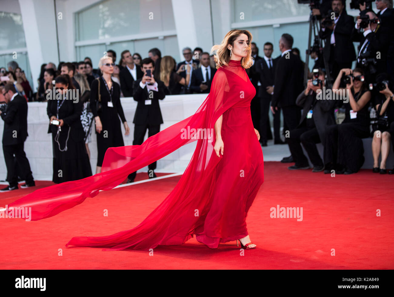 Venice, Italy. 30th Aug, 2017. Actress Greta Scarano arrives on the red carpet of the premiere of the film 'Downsizing' which opens the 74th edition of the Venice Film Festival in Venice, Italy, on Aug. 30, 2017. The 74th edition of the Venice Film Festival lasts from Aug. 30 to Sept. 9. Credit: Jin Yu/Xinhua/Alamy Live News - Stock Image