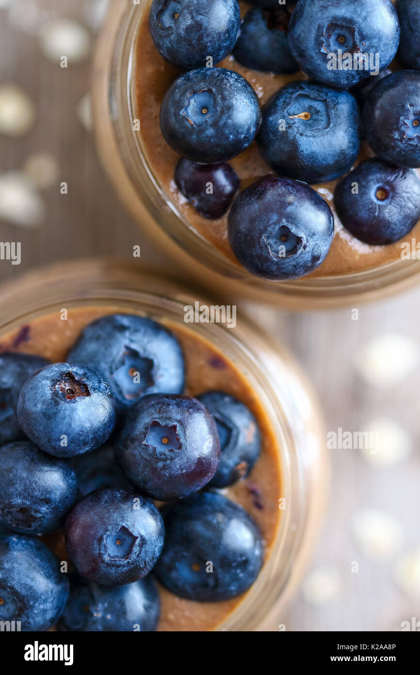 Coffee Smoothie with Blueberries - Stock Image