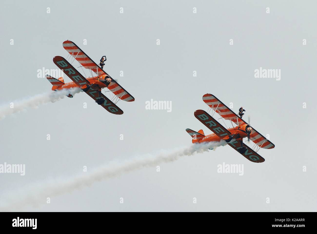 The Breitling Wing Walking display team perform at the Airbourne airshow at Eastbourne in East Sussex, England on August 15, 2013. - Stock Image