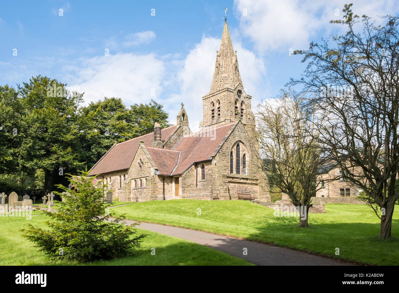Edale Church. The Holy and Undivided Trinity Church in the village of Edale, Derbyshire, England, UK - Stock Image