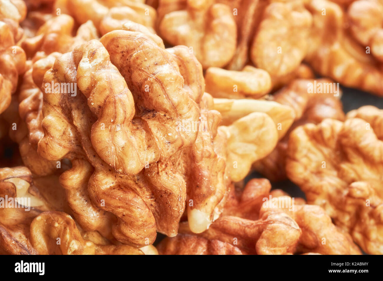 Extreme close up picture of walnuts, shallow depth of field. - Stock Image