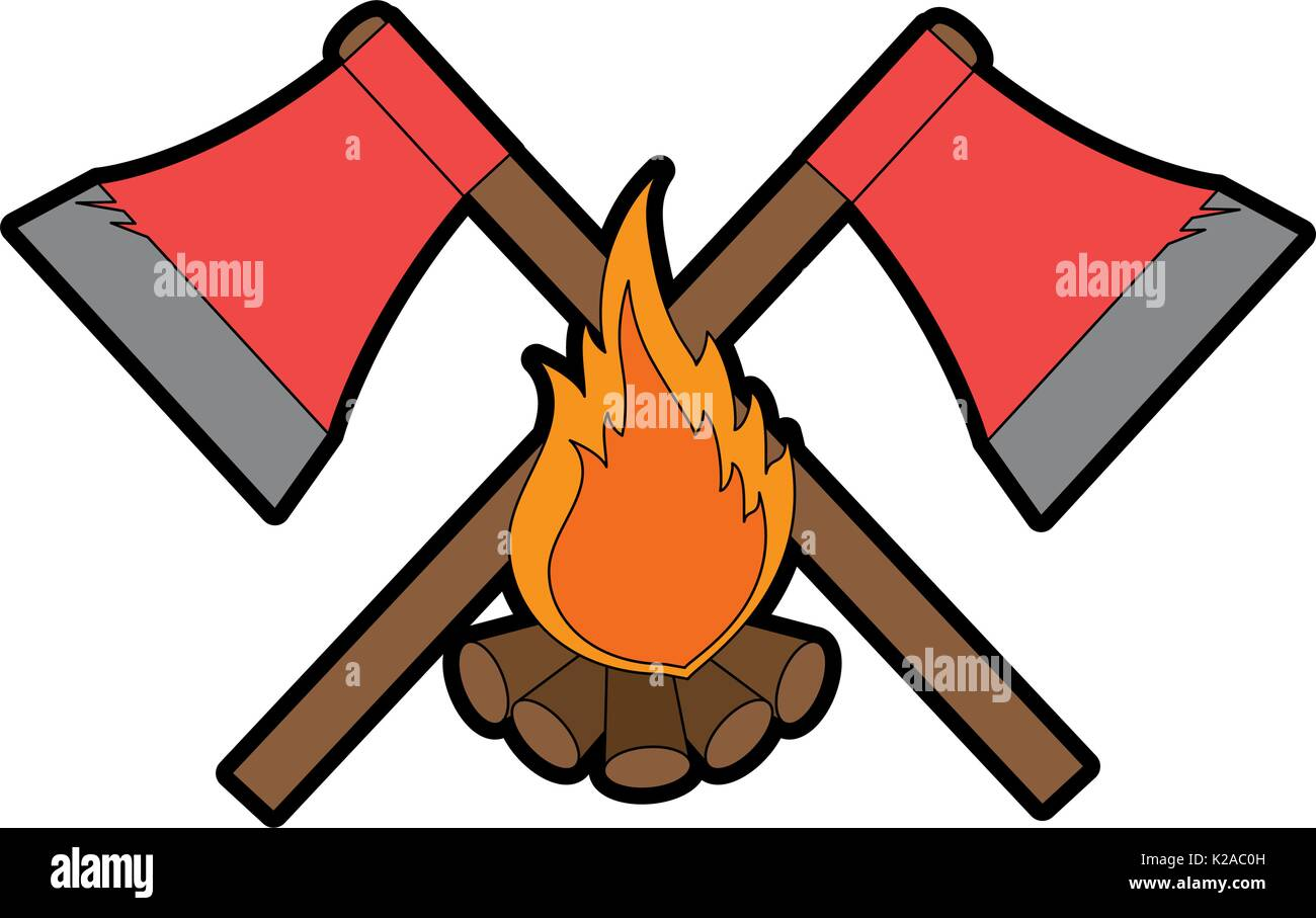 emblem with axs and campfire icon  - Stock Image