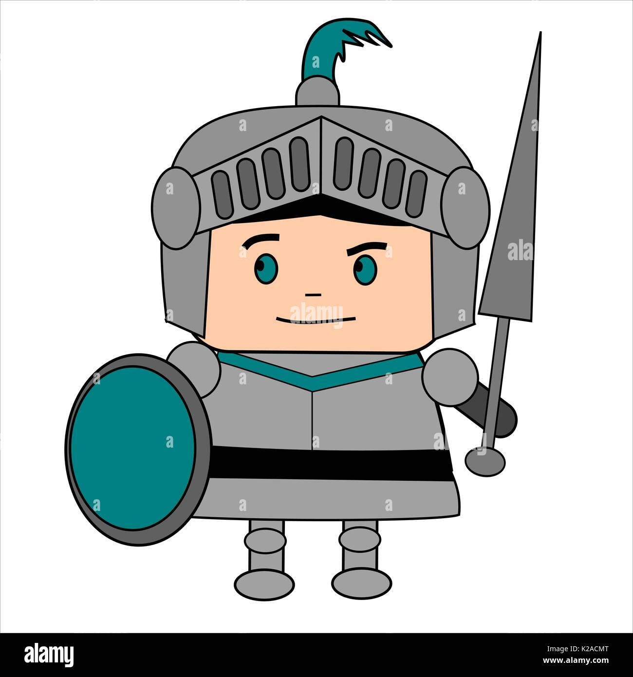Cartoon medieval knight in suit of armor, with helmet, lance and shield. - Stock Image