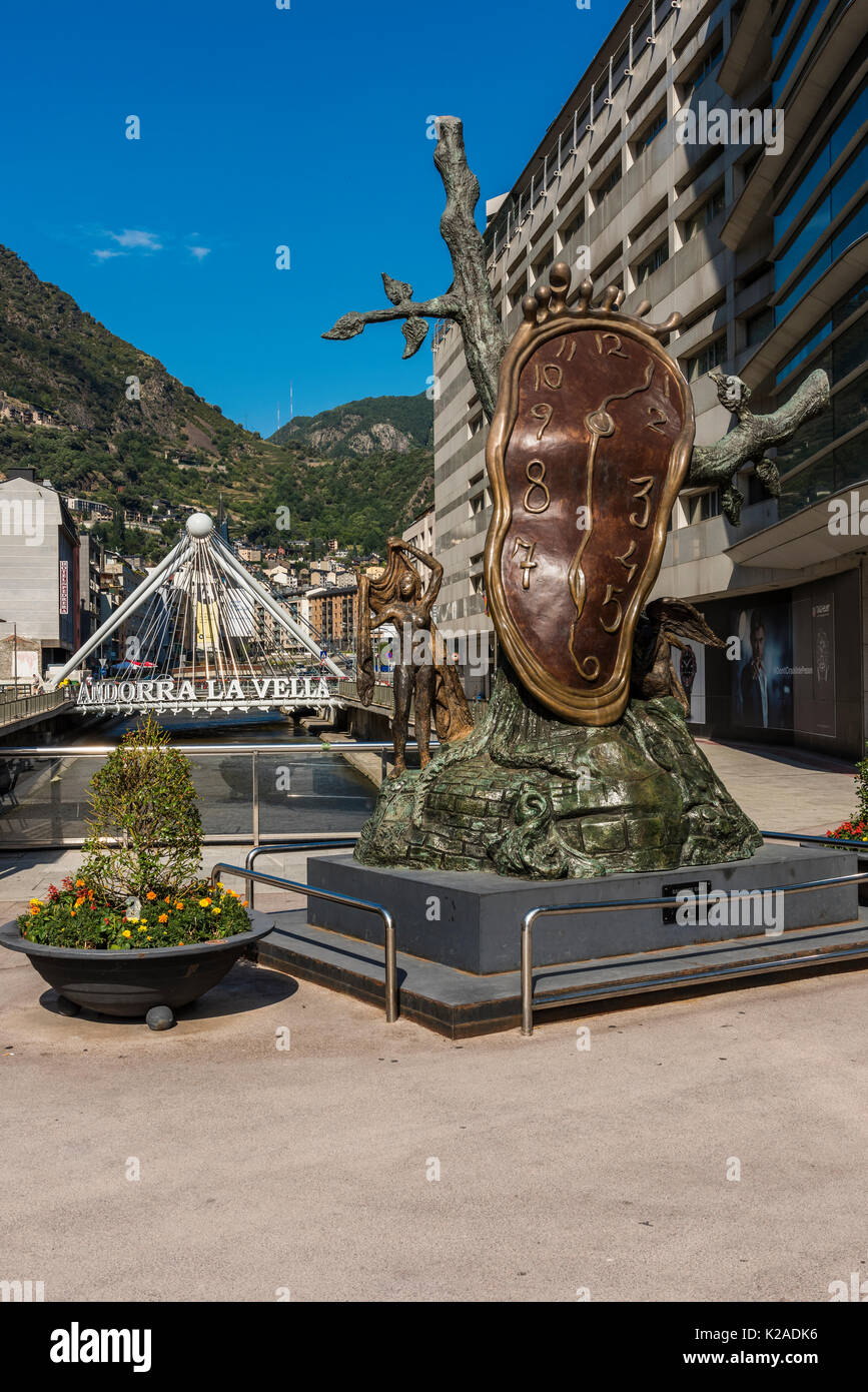 "The bronze ""Nobility of Time sculpture"" by Spanish artist Salvador Dali, Andorra La Vella, Andorra - Stock Image"