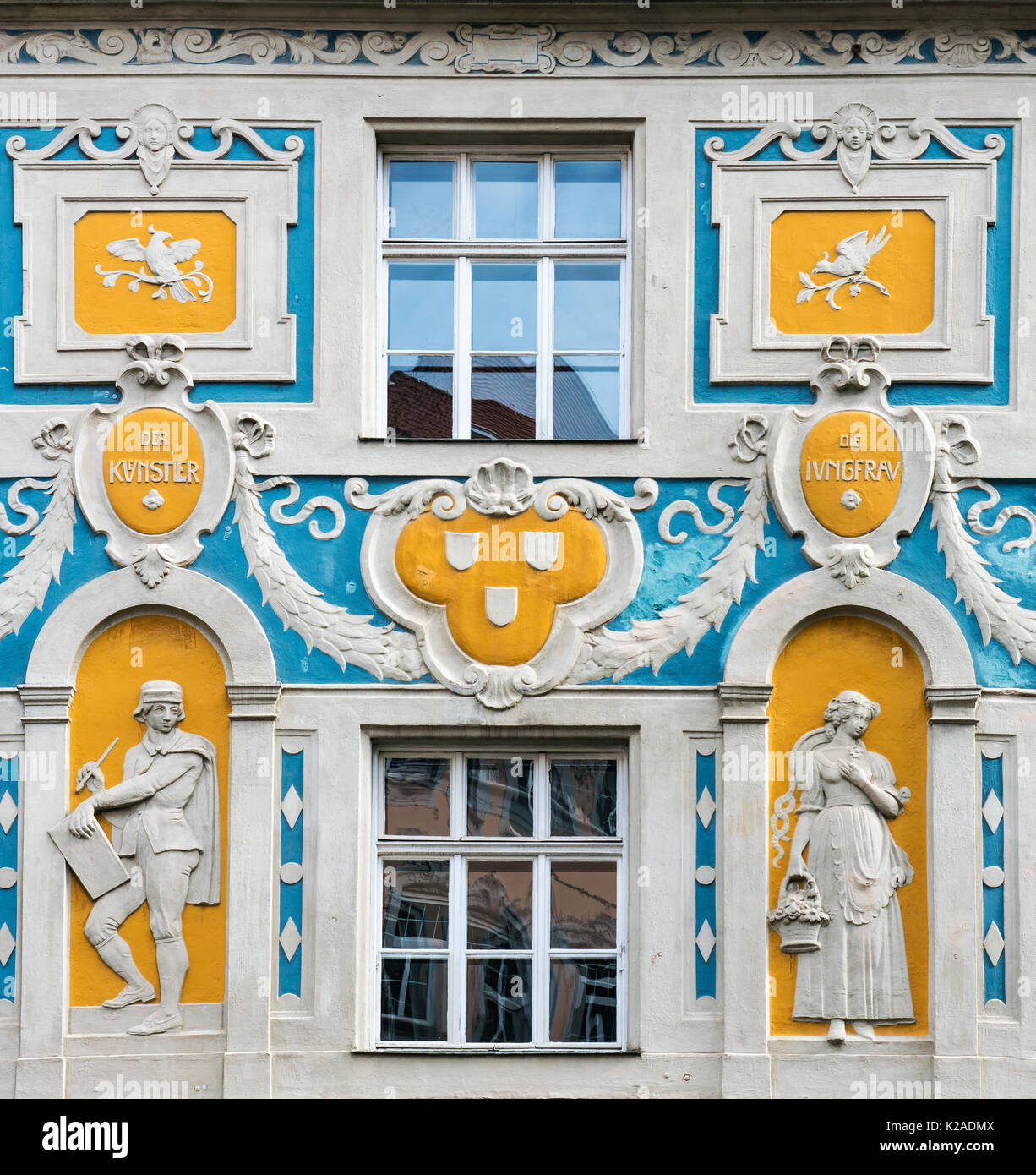 Architectural detail of the facade of Ruffinihaus or Ruffini House, Munich, Bavaria, Germany - Stock Image