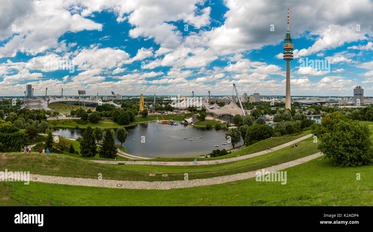 Panoramic view over the Olympic stadium and the Olympic tower or  Olympiaturm, Olympiapark, Munich, Bavaria, Germany Stock Photo