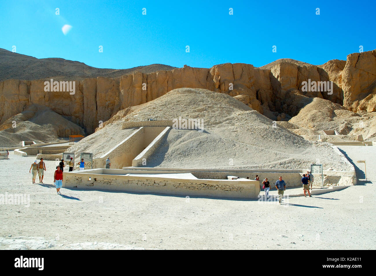 Tombs at the Valley of the Kings. The entrance to the tomb of Ramses VI and on the right the entrance to the tomb of Tutankhamun. Thebes. Egypt - Stock Image