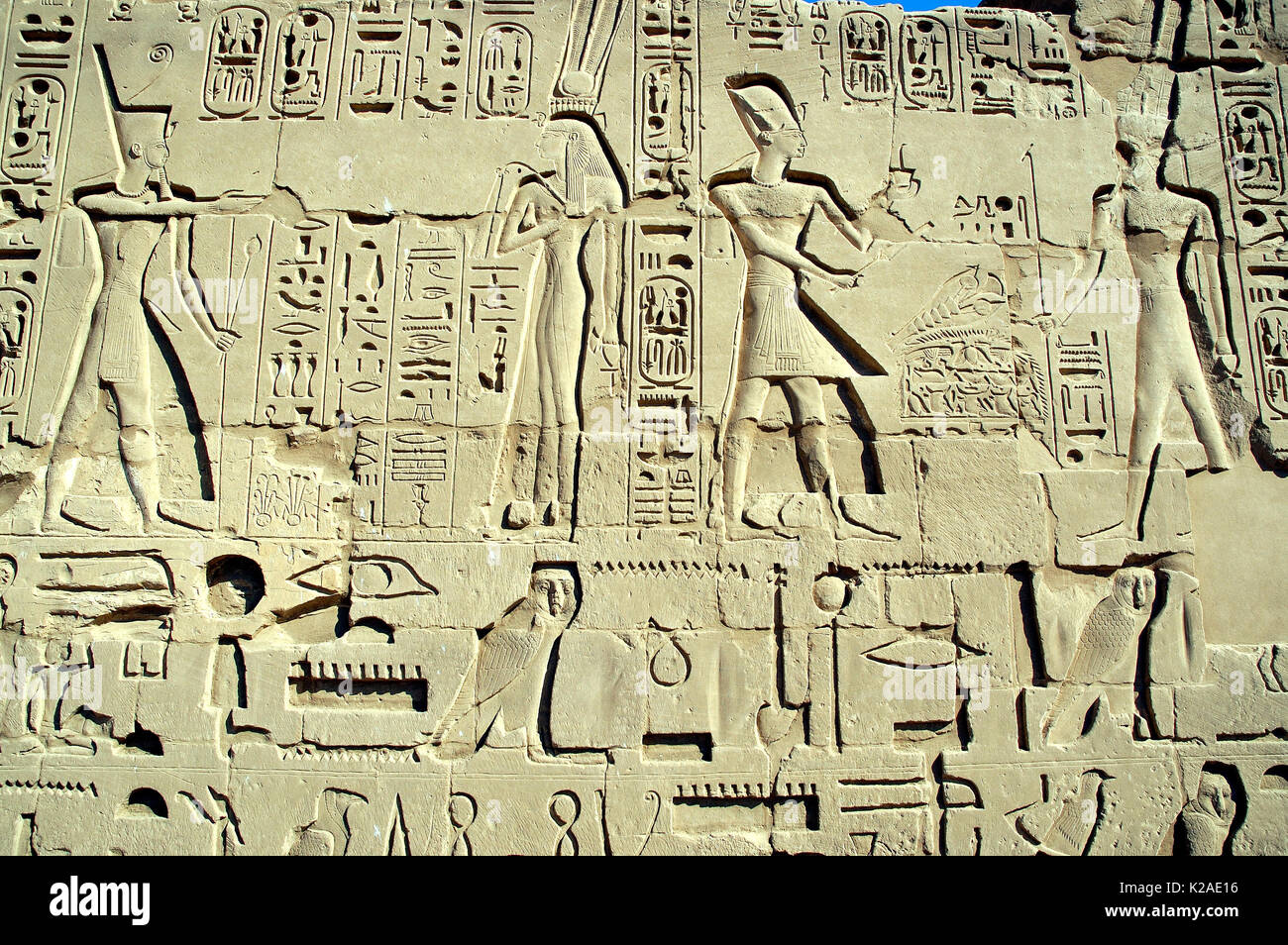 Wall reliefs from the Temple of Karnak, Luxor. Egypt - Stock Image