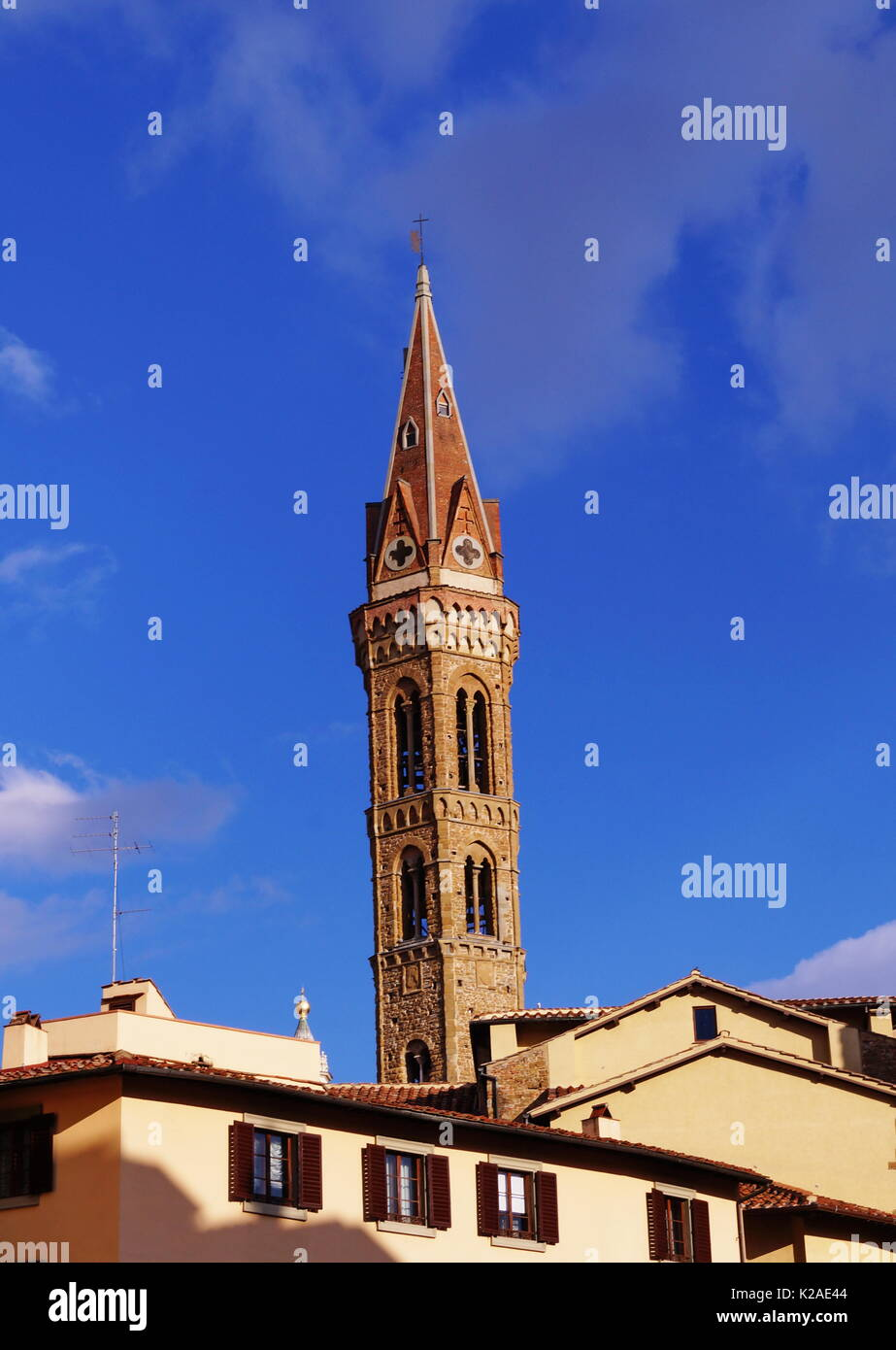 Bell Tower of the Badia Fiorentina in Florence, Italy Stock Photo