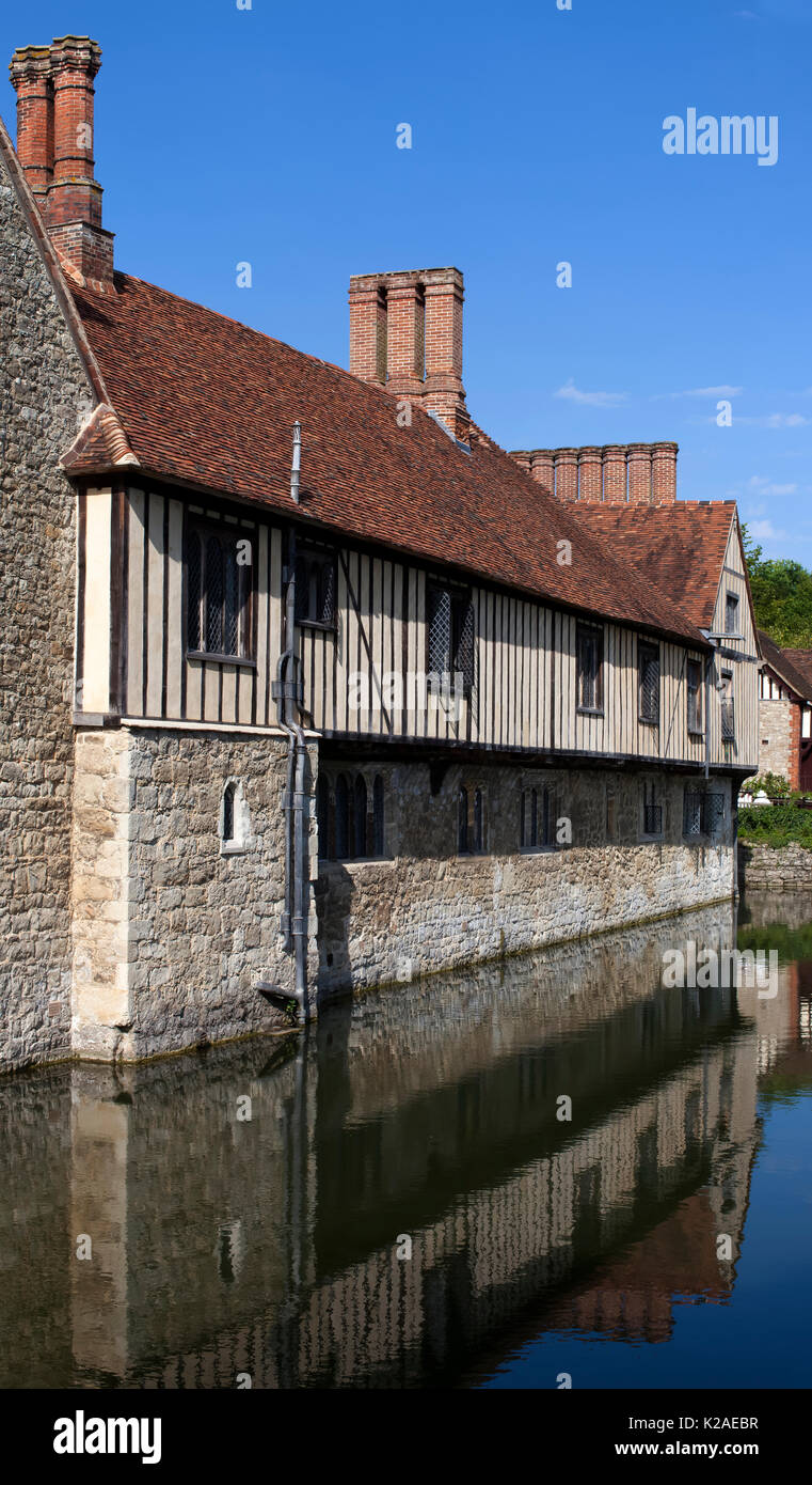 Ightham Mote, Ightham, Kent is a medieval moated manor house. The architectural writer John Newman describes it as 'the most complete small medieval m - Stock Image
