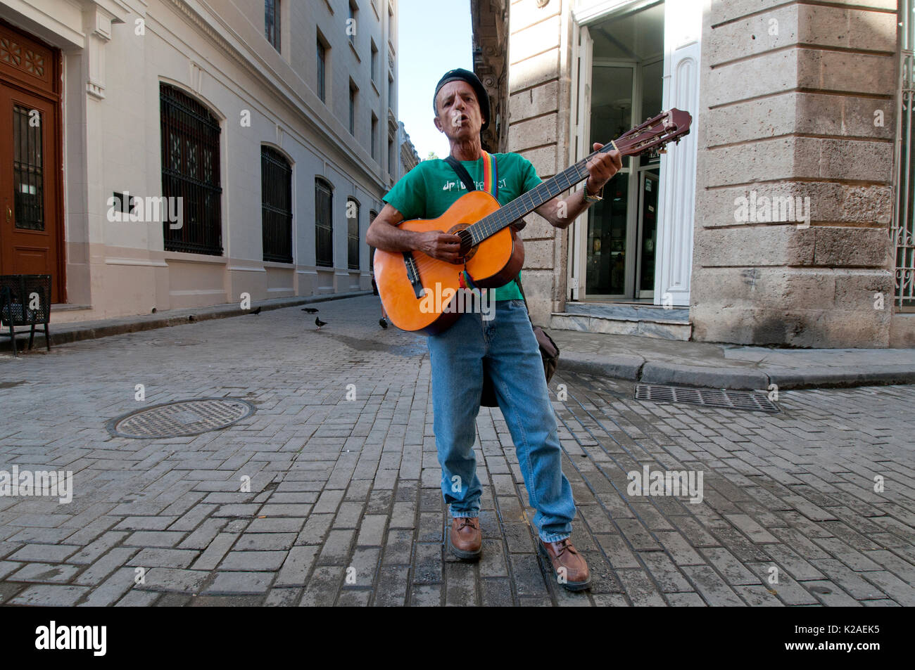 Street musician with guitar in old town Havana Cuba - Stock Image