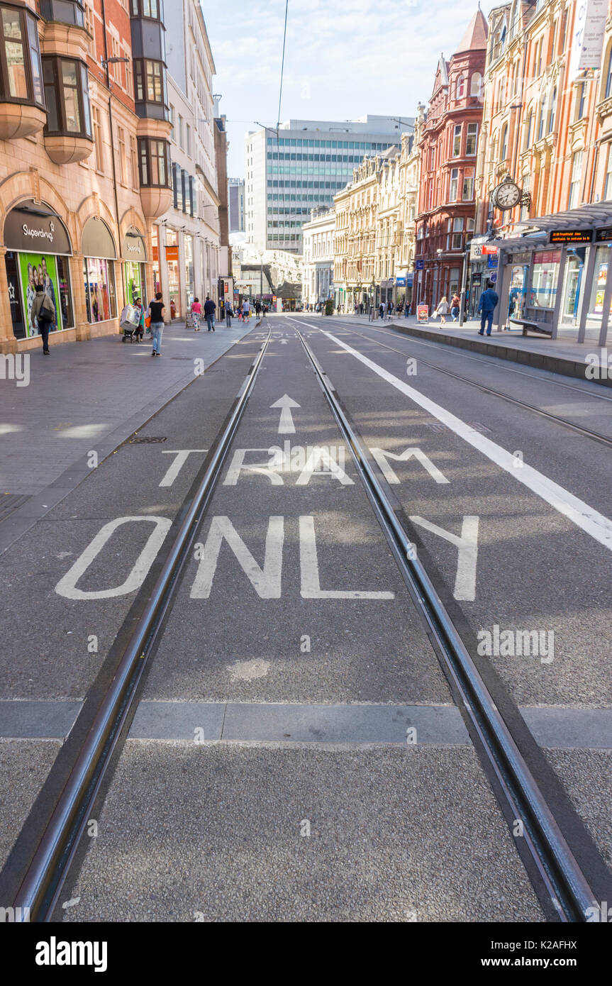 Birmingham City Centre Tramlines Stock Photo