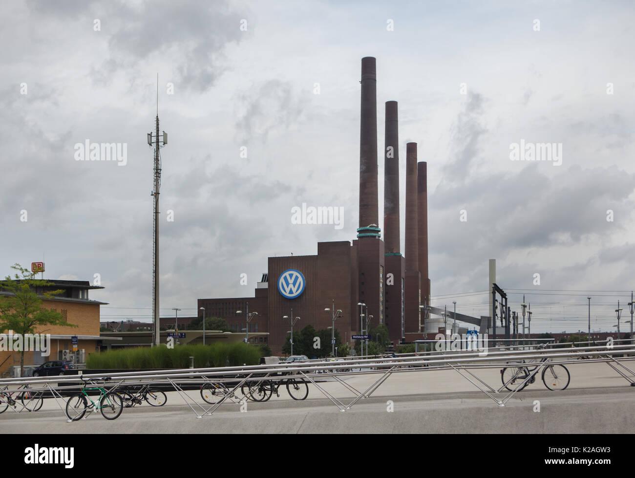 Cogeneration thermal power station Volkswagen Kraftwerk in Wolfsburg, Lower Saxony, Germany. Stock Photo