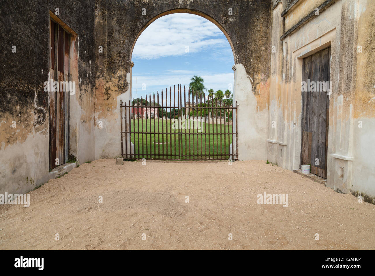 One of pathway to the outer field at Hacienda Yaxcopoil, Yaxcopoil, Yucatan, Mexico. - Stock Image