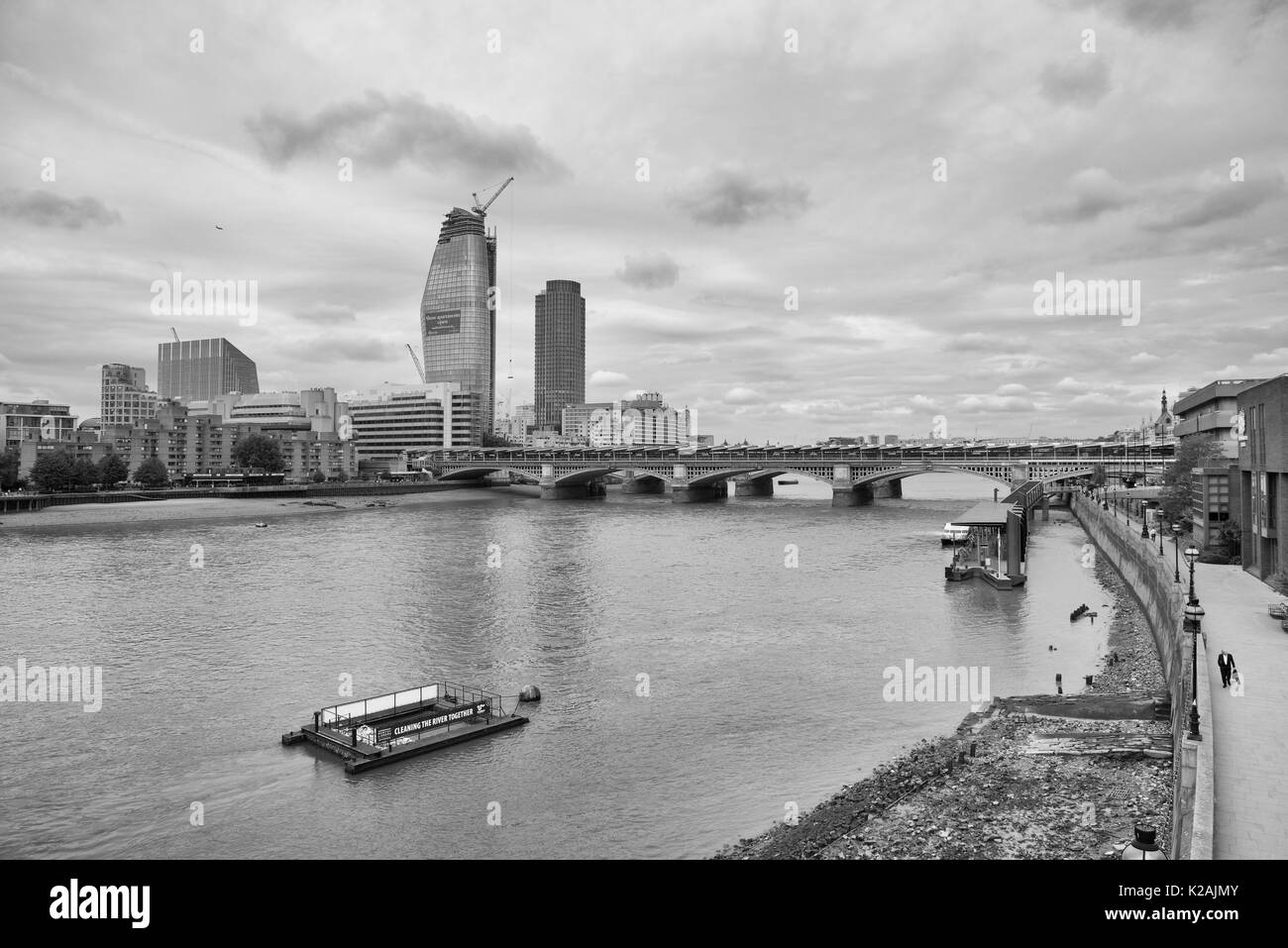 View of the River Thames and London Blackfriars station and One Blackfrairs tower Stock Photo