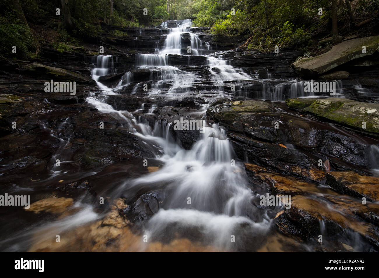 Minnehaha Falls are on Falls Branch between its headwaters on Stony Mountain and where it empties into Lake Rabun. Stock Photo
