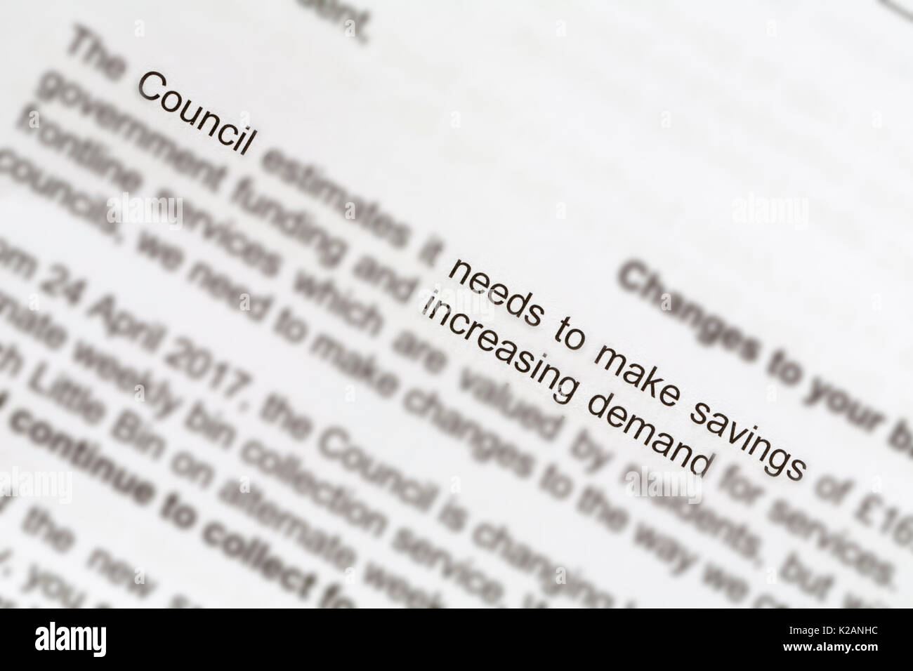 Letter from council advising of changes to bin collections to fortnightly bin collections because of cuts in government funding & increase in demand - Stock Image