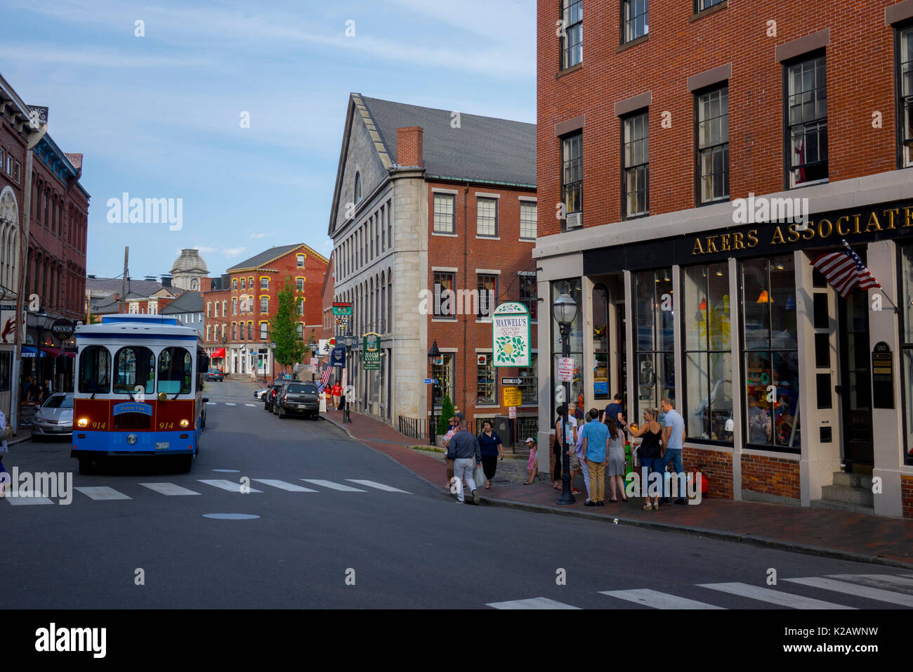 USA Maine ME Portland Fore Street in old downtown Portland city  Shops and restaurants - Stock Image