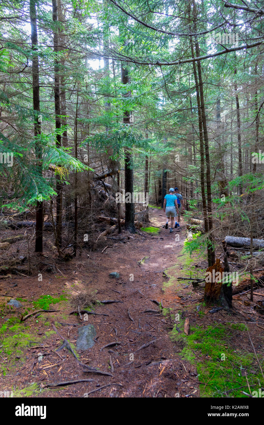 USA Maine ME Monhegan Island in Penobscot Bay in the Atalntic Ocean Couple Hiking trails - Stock Image