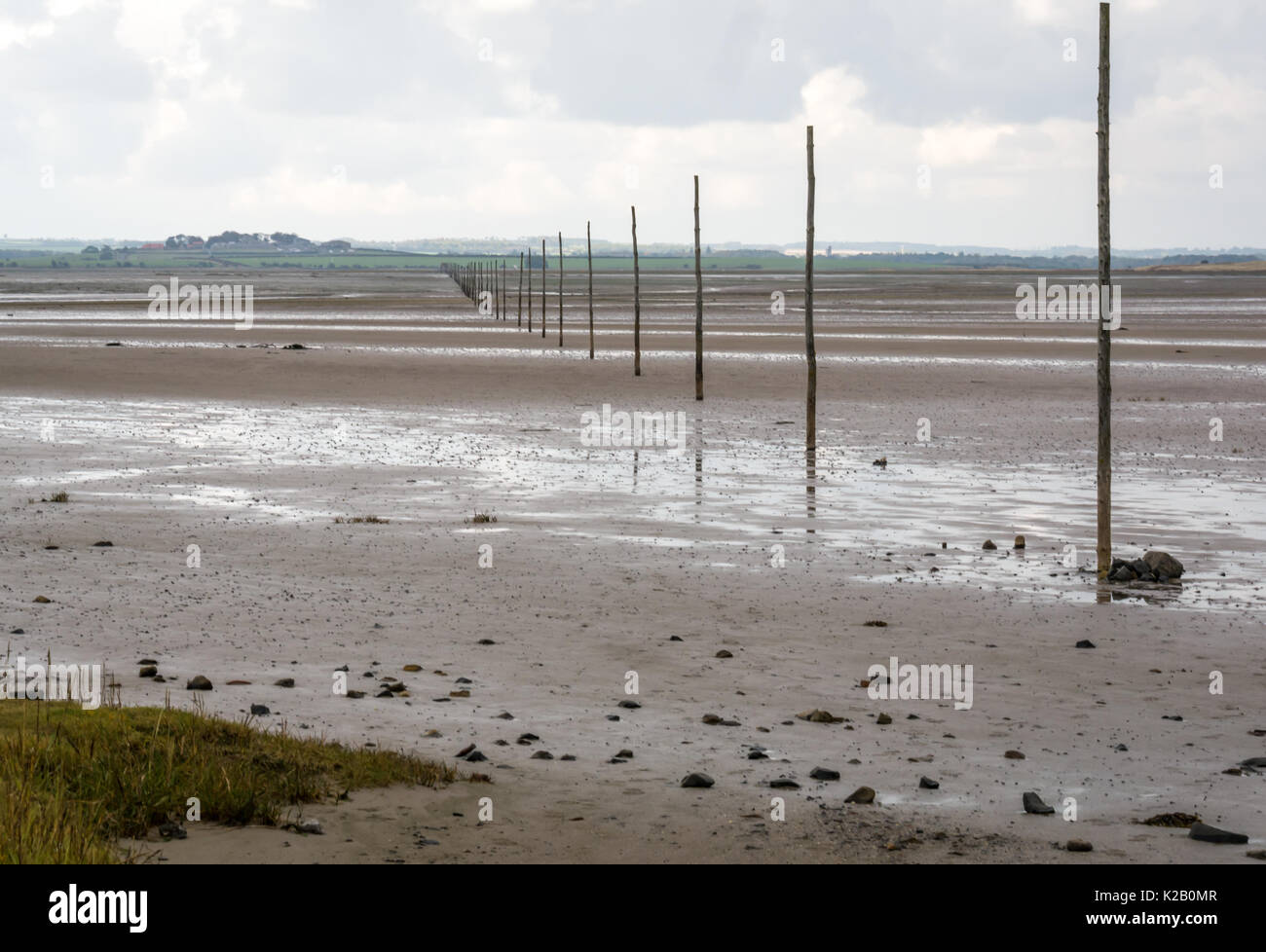 Low tide at Pilgrim's Way, with guide poles in sand to mark route between mainland and Holy Island on Beal Sands, Northumberland, England, UK - Stock Image