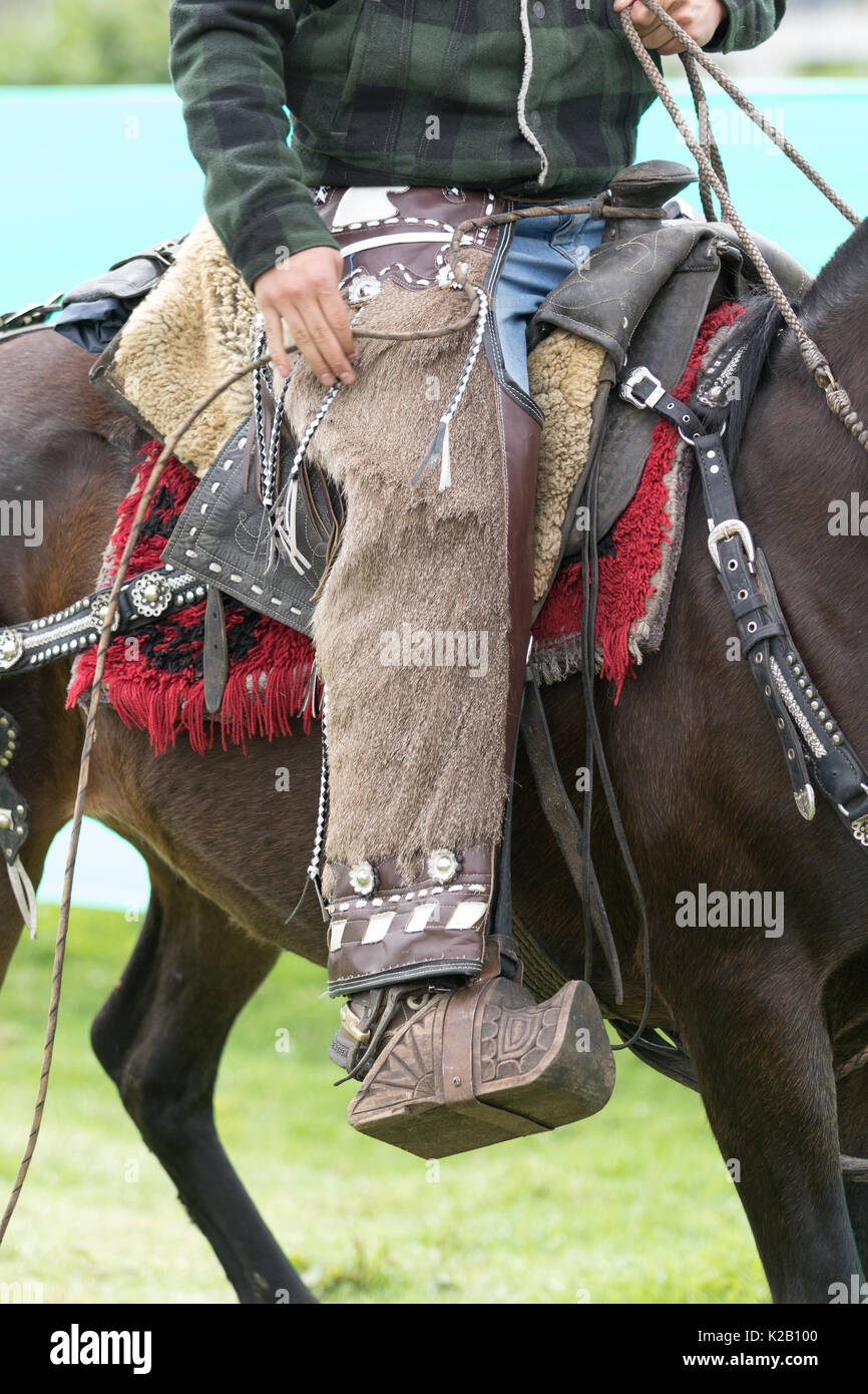 June 3, 2017 Machachi, Ecuador: traditional chaps detail worn by a cowboy on horseback - Stock Image